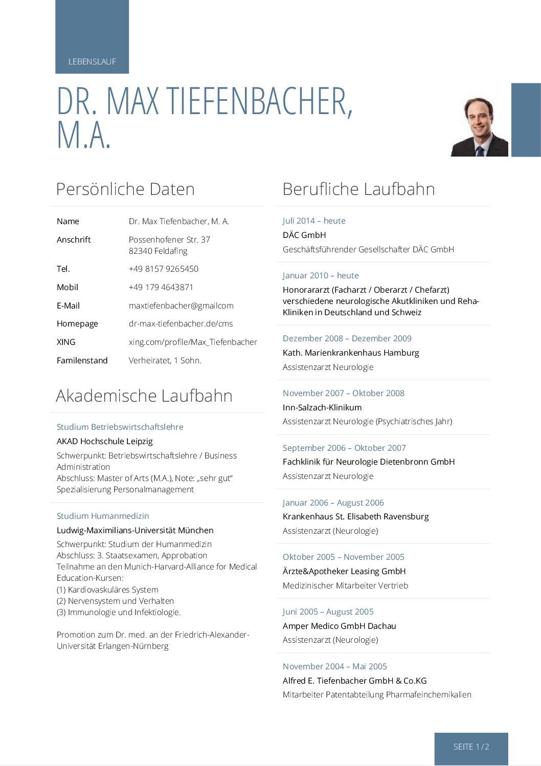 Lebenslauf Dr Max Tiefenbacher Stand 13042018 Dr Max Tiefenbacher